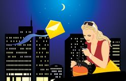 Woman with a mobile telephone and bag. Night city Stock Photos