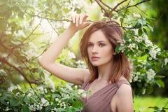 Woman modèle dans le jardin des fleurs d'Apple photo stock