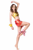 Woman model with beauty bright make-up dancing Stock Photography