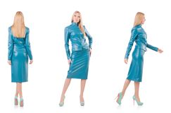 The woman model in blue leather suit Stock Image
