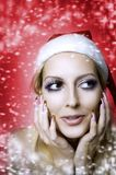 Woman model. Christmas bright make-up Royalty Free Stock Photo