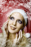 Woman model. Christmas bright make-up Stock Photos