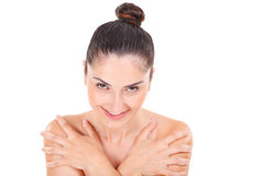 Woman model face with natural make-up with soft clean Stock Photos