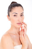 Woman model face with natural make-up with soft clean Royalty Free Stock Photos