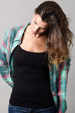Woman, model of fashion, wearing casual clothes Royalty Free Stock Images