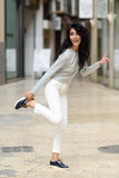 Woman, model of fashion, wearing casual clothes smiling Stock Photo