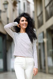 Woman, model of fashion, wearing casual clothes smiling Royalty Free Stock Photos