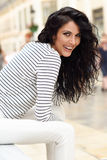 Woman, model of fashion, wearing casual clothes smiling Stock Photography