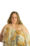 Woman model in fur isolated Royalty Free Stock Photo