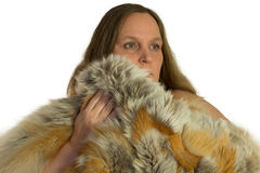 Woman model in fur isolated Royalty Free Stock Photos
