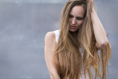 Woman model with long hair outdoor Stock Photos