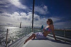 Woman Model on Sailboat Royalty Free Stock Image