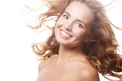 Woman model with windswept flying  hair. Stock Photos