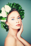 Woman Model in Wreath of Green Leaves. Body Care and H Royalty Free Stock Photos