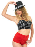 Woman Modelling Vintage Pin Up Bikini. Young Woman Modelling Vintage Pin Up Bikini Stock Photos