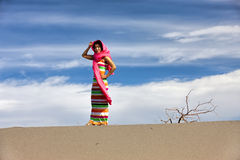 Woman models in desert. Stock Photos