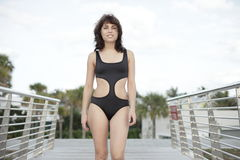 Woman in a modern bathing suit Stock Photo