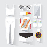 Woman modern clothing set. Stylish and trendy clothing. Black and white wardrobe. Casual day look. Fashion clothes decorative icons flat set. Vector Royalty Free Stock Photography