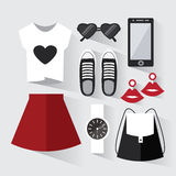 Woman modern clothing set. Stylish and trendy clothing. Black and white wardrobe. Casual day look. Fashion clothes decorative icons flat set. Vector Royalty Free Stock Photos