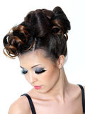 Woman with modern fashion hairstyle Stock Photography