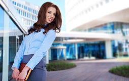 Woman in modern glass interior Royalty Free Stock Photos
