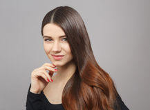 Woman with modern hairstyle in studio Royalty Free Stock Images