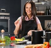 Woman on modern kitchen Stock Photos