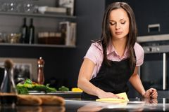Woman on modern kitchen Royalty Free Stock Photography