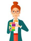 Woman with modular phone Stock Image