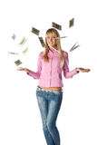 Woman with money. Pretty woman with falling money on a white background Stock Photos