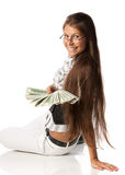 Woman with money Royalty Free Stock Photos