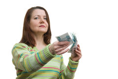 The woman with money Stock Photo