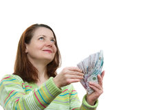 The woman with money Stock Photos