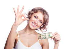Woman with money Stock Photography