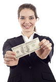 Woman with Money Royalty Free Stock Image