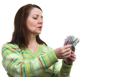 The woman with money Royalty Free Stock Photo