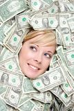 Woman with money. Beautiful young woman with money stock photo