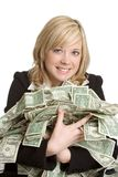 Woman with Money. Beautiful woman with holding money royalty free stock photo