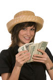 Woman and money. A woman with a lot of money Royalty Free Stock Photography