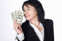 Woman with money . Stock Photo