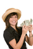 Woman and money. A woman with a lot of money Stock Photography