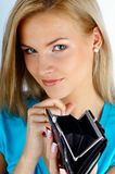 Woman & money. Girl with empty wallet royalty free stock image