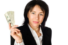 Woman with money. Big winner. Woman with money. Isolated on white background Stock Photo
