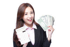 Woman with money and calculator Stock Images