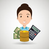 Woman money coins calculator Royalty Free Stock Image