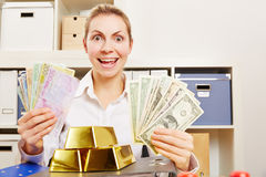 Woman with money in Dollar and Euro and Gold currency Stock Photos