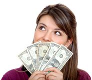Woman with a money fan Royalty Free Stock Photo
