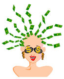 Woman money hairstyle Royalty Free Stock Photo