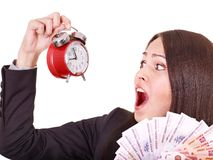 Woman with  money .Russian rouble. Royalty Free Stock Image