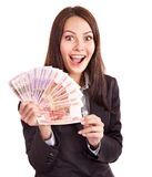 Woman with  money. Russian rouble. Isolated Stock Images